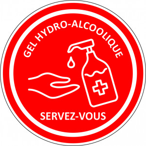 STICKER ROUGE DISTRIBUTION GEL HYDROALCOOLIQUE
