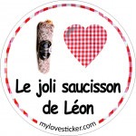 STICKER I LOVE LE JOLI SAUCISSON DE LEON