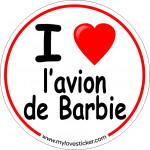 STICKER I LOVE L'AVION DE BARBIE