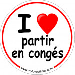 STICKER I LOVE PARTIR EN CONGE