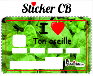 STICKER CARTE BLEUE I LOVE TON OSEILLE